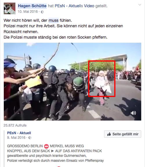 Grotesk: Hagen Schütte über antifaschistisches Engagement auf der Merkel muss weg-Demo.