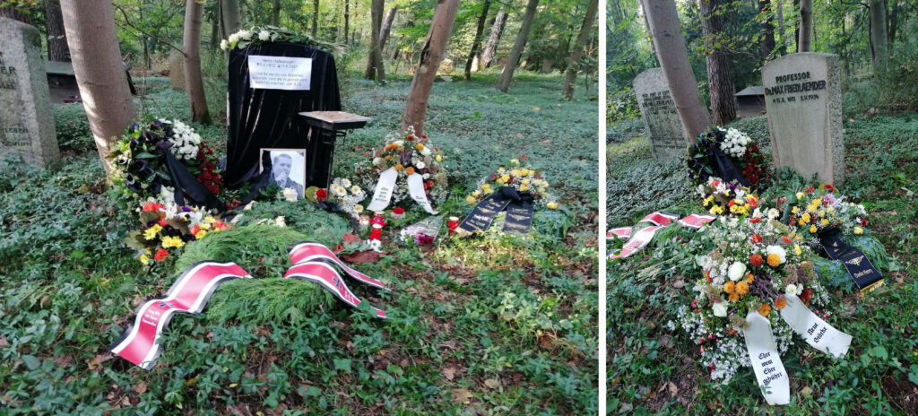 Die Grabstelle während der Bestattung Hafenmayers und nach Abgang der Neonazis.